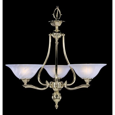 Fin De Siecle 3-Light Shaded Chandelier Finish: Polished Brass / Nuage