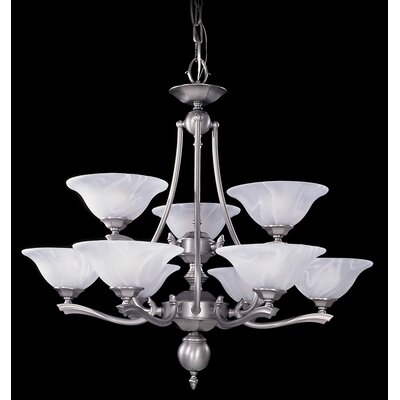 Fin De Siecle 9-Light Shaded Chandelier Finish: Satin Pewter / Nuage
