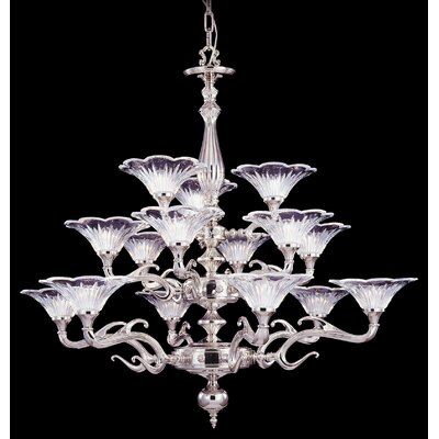 Geneva 15-Light Shaded Chandelier Color: Polished Silver