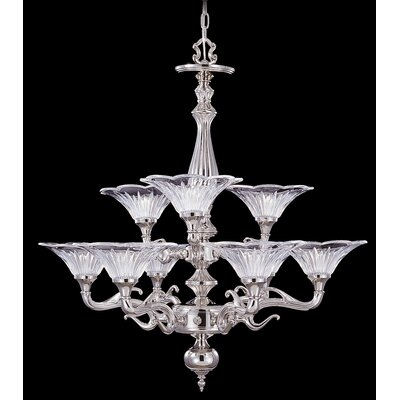 Geneva 9-Light Shaded Chandelier Finish: Polished Silver