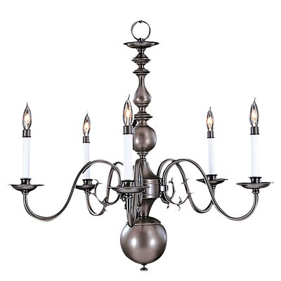 Jamestown 5-Light Candle-Style Chandelier Size: 22 x 24, Finish: Satin Pewter