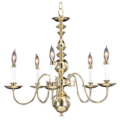Jamestown 5-Light Candle-Style Chandelier Size: 22 x 24, Color: Polished Brass