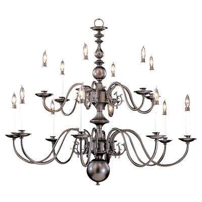Jamestown 14-Light Candle-Style Chandelier Finish: Polished Brass