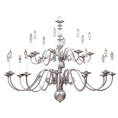 Jamestown 20-Light Candle-Style Chandelier Color: Polished Brass