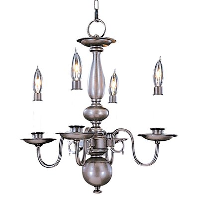 Jamestown 4-Light Candle-Style Chandelier Finish: Satin Pewter