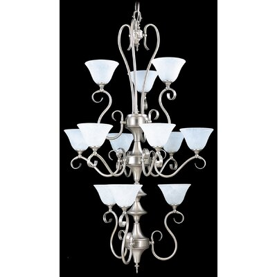 Forest 12-Light Shaded Chandelier Finish: Mahogany Bronze / Amber Marble