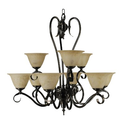 Black Forest 9-Light Shaded Chandelier Finish: Mahogany Bronze, Shade Color: Champagne