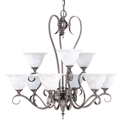 Black Forest 9-Light Shaded Chandelier Shade Color: White, Finish: Satin Pewter
