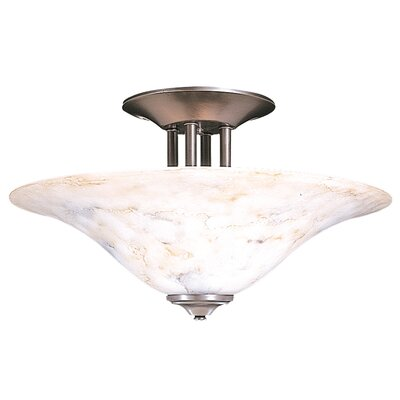 Black Forest 3-Light Semi Flush Mount Finish: Satin Pewter / White
