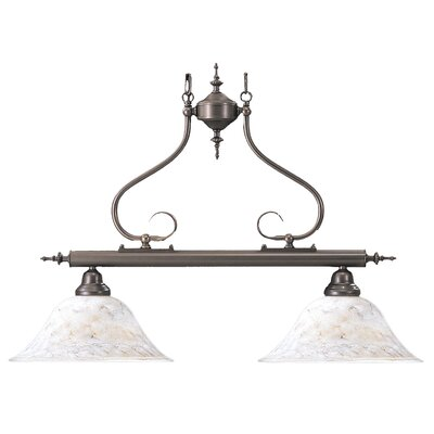 Black Forest 2-Light Kitchen Island Pendant Finish: Harvest Bronze / White Marble