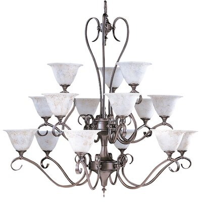 Forest 15-Light Shaded Chandelier Finish: Harvest Bronze / White Marble