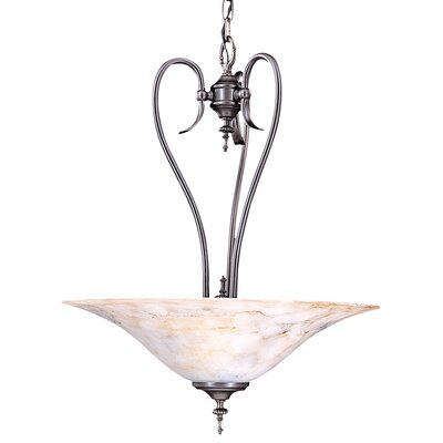 Black Forest 3-Light Inverted Pendant Finish: Harvest Bronze / White Marble