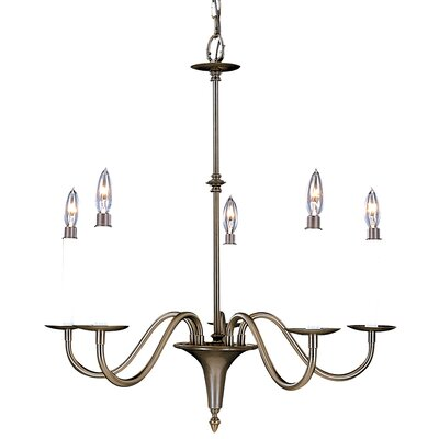 Early American 5-Light Candle-Style Chandelier Finish: Satin Pewter