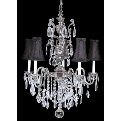 Czarina 5-Light Crystal Chandelier Finish: Antique Silver / Black