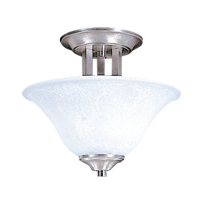 Bellevue 2-Light Semi Flush Mount Size: 9.5  x 13, Finish: Brushed Stainless / Polished Nickel