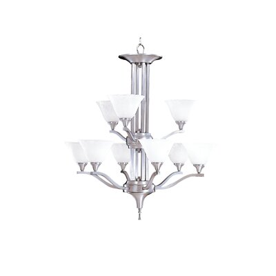 Bellevue 9-Light Shaded Chandelier Finish: Brushed Stainless / Polished Nickel