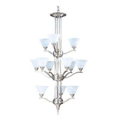 Bellevue 12-Light Shaded Chandelier Finish: Brushed Stainless / Polished Nickel
