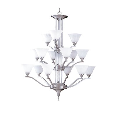 Bellevue 15-Light Shaded Chandelier Finish: Brushed Stainless / Polished Nickel