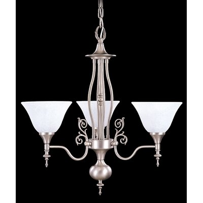 Provence  3-Light Shaded Chandelier Finish: Harvest Bronze / White Marble