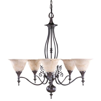 Provence 5-Light Shaded Chandelier Finish: Mahogany Bronze / Amber Marble