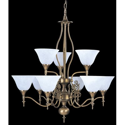 Provence 9-Light Shaded Chandelier Finish: Mahogany Bronze / Amber Marble