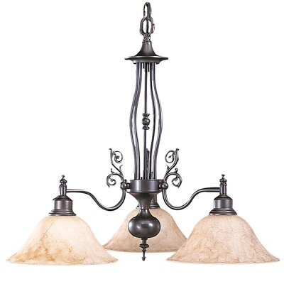 Provence 3-Light Shaded Chandelier Finish: Satin Pewter / White