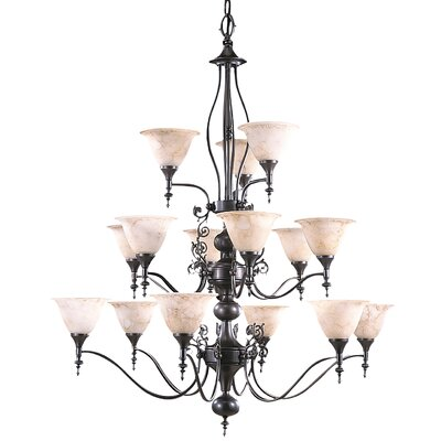 Provence 15-Light Shaded Chandelier Finish: Mahogany Bronze / Amber Marble