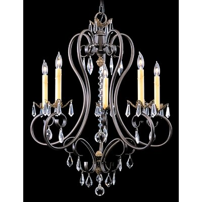 Liebestraum 5-Light Crystal Chandelier Finish: Mahogany Bronze
