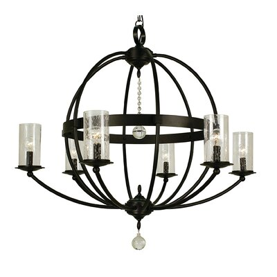 Compass 6-Light Candle-Style Chandelier Finish: Matte Black