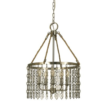 Warwick 5-Light Pendant Finish: Antique Brass, Size: 24 H x 17 W x 17 D