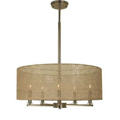 Chloe 5-Light Drum Pendant Finish: Polished Nickel, Size: 10