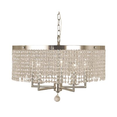 Princessa 5-Light Pendant Color: Polished Silver, Size: 16 H x 22 W x 22 D