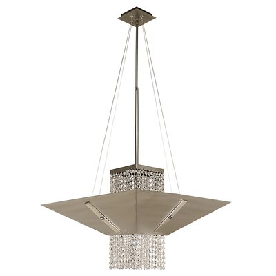 Gemini 1-Light Mini Pendant Size: 32 - 54 x 22, Finish: Satin Pewter with Polished Nickel