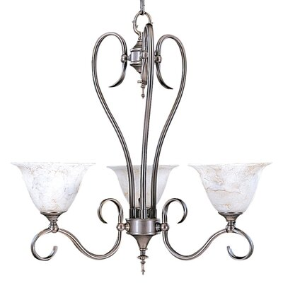Forest 3-Light Shaded Chandelier Finish: Satin Pewter / White