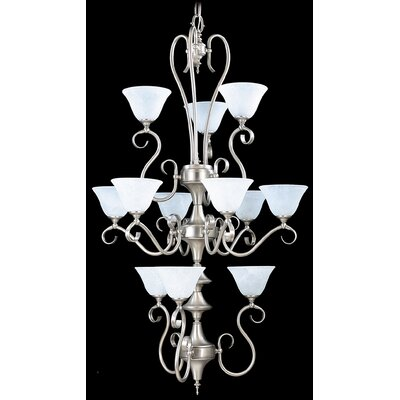 Forest 12-Light Shaded Chandelier Finish: Harvest Bronze / White Marble