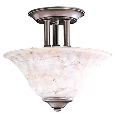 Black Forest 2-Light Semi Flush Mount Size: 9.5 x 13, Finish: Satin Pewter / White