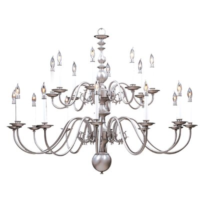 Jamestown 20-Light Candle-Style Chandelier Finish: Satin Pewter