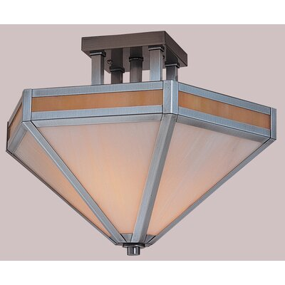 Etoile Inverted Semi Flush Mount Size: 12 H x 21 W, Finish: Mission Brown