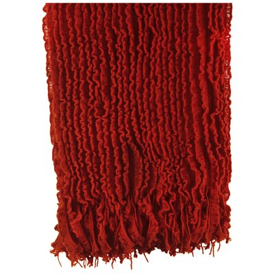 WovenWorkz Charlotte Ruffled Throw Blanket - Color: Red
