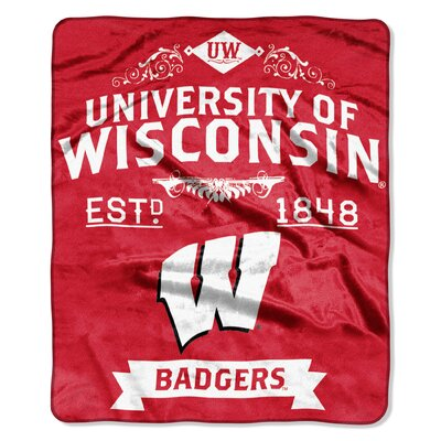 Collegiate Wisconsin Label Raschel Throw