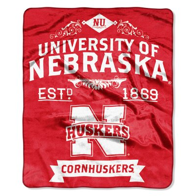 Collegiate Nebraska Label Raschel Throw