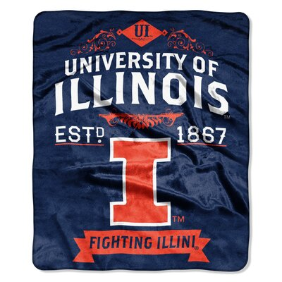 Collegiate Illinois Label Raschel Throw