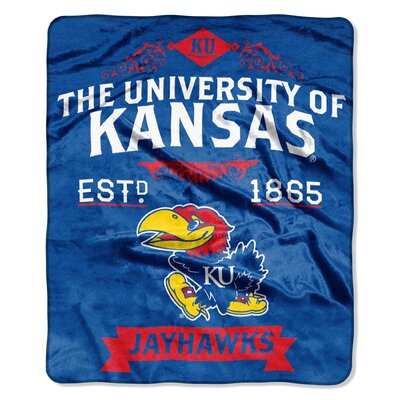 Collegiate Kansas Label Raschel Throw