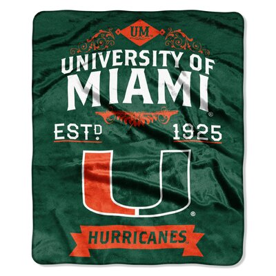 Collegiate Miami Label Raschel Throw