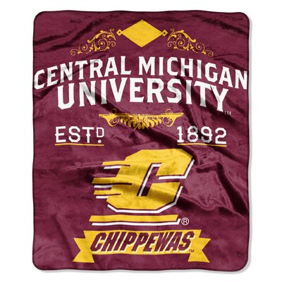 Collegiate Central Michigan Label Raschel Throw