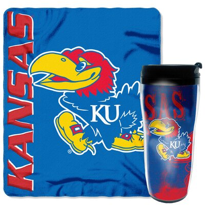 Collegiate Kansas 2 Piece Fleece Throw and Travel Mug Set