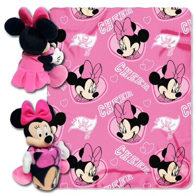 NFL Minnie Cheer Buccaneers 2 Piece Fleece Throw and Hugger Pillow Set