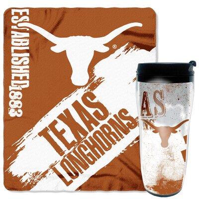 Collegiate Texas 2 Piece Fleece Throw and Travel Mug Set