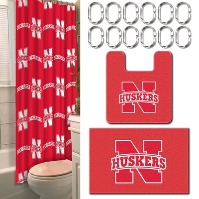 NCAA 15 Piece Shower Curtain Set NCAA Team: University of Nebraska, Lincoln