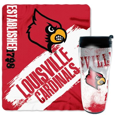 Collegiate Louisville 2 Piece Fleece Throw and Travel Mug Set